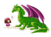 Hand drawn artistic illustration of cute little girl and friendly dinosaur Stock Photos