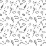 Hand drawn artistic meat seamless pattern for adult coloring page Stock Photo