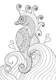 Hand drawn artistic Sea horse in waves for adult coloring page