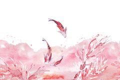 Hand drawn artistic seamless background with watercolor backdrop, coral brunches, swimming fish isolated on white background. Good for wedding and Valentines Stock Photo