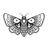 Hand drawn artistically black Butterfly, cute ornamental pattern Royalty Free Stock Photos