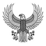 Hand drawn artistically Egypt Horus Falcon, patterned Ra-bird  Stock Image