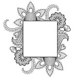 Hand drawn artistically ethnic ornamental patterned floral frame Stock Image