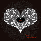Hand drawn artistically ethnic ornamental patterned heart with romantic doodle elements of St. Valentine's day Stock Photo