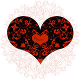 Hand drawn artistically ethnic ornamental patterned heart with romantic doodle elements of St. Valentine's day Stock Photography