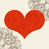 Hand drawn artistically ethnic ornamental patterned heart with romantic doodle elements of St. Valentine's day Stock Images