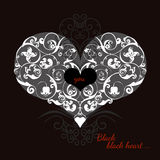 Hand drawn artistically ethnic ornamental patterned heart with romantic doodle elements of St. Valentine's day Stock Photos
