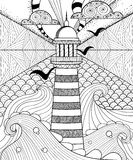 Hand drawn artistically ethnic ornamental patterned Lighthouse w Royalty Free Stock Image