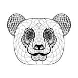 Hand drawn artistically ethnic ornamental patterned Panda's head Stock Images
