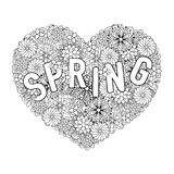 Hand drawn artistically ethnic ornamental patterned Spring with. Big Heart in doodle, zentangle tribal style for adult coloring book, pages, tattoo, t-shirt or Stock Image