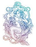 Beautiful mermaid girl with vintage anchor. Hand drawn artwork of beautiful mermaid girl sitting on the anchor. Graceful ocean siren in retro style. Sea fantasy Stock Photo