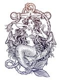 Beautiful mermaid girl with vintage anchor. Hand drawn artwork of beautiful mermaid girl sitting on the anchor. Graceful ocean siren in retro style. Sea fantasy Royalty Free Stock Photography
