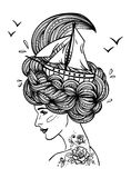 Hand drawn artwork of a dreaming young beautiful woman Royalty Free Stock Photo