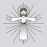 Hand drawn ascension jesus christ image. Vector illustration Stock Image