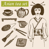 Hand drawn asian tea culture objects. Geisha, teapot and other tools and equipment of tea ceremony. Vector sketch illustration Royalty Free Stock Photography