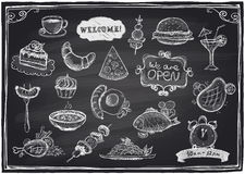 Hand Drawn Assorted Food And Drinks Graphic. Royalty Free Stock Image