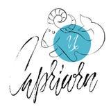 Hand drawn astrological zodiac sign Capricorn. Vector illustration. Horoscope symbol. Handwritten grunge lettering Stock Image