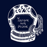 Hand drawn Astronaut Cosmic doodle with lettering - You are not alone. Vector logo concept in doodle style. Vector illustration Stock Images