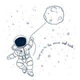 Hand Drawn Astronaut Doodle Stock Photos