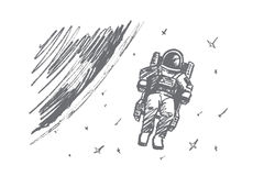 Hand drawn astronaut floating in outer space Stock Photos