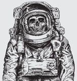 Hand drawn Astronaut Skull Royalty Free Stock Images