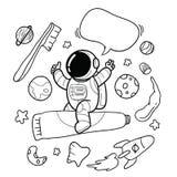Hand drawn astronaut toothbrush vector illustration
