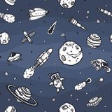 Hand drawn astronomy doodle seamless pattern. Stock Photography