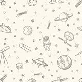 Hand drawn astronomy doodle seamless pattern. Hand drawn vector illustration Stock Photo