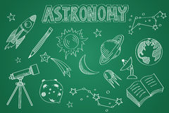 Hand drawn Astronomy set. Chalk on the blackboard Royalty Free Stock Image