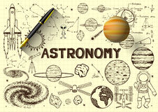 Hand drawn about astronomy on yellow paper with 3D fountain pen and a planet. Hand drawn about astronomy on yellow paper and 3D fountain pen and a planet Royalty Free Stock Photos
