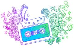 Hand drawn audio cassette with line art decor Stock Photography