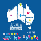 Hand drawn Australia travel map with pins vector Stock Photo