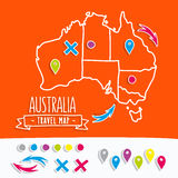 Hand drawn Australia travel map with pins vector Royalty Free Stock Photos