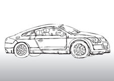 Hand drawn automobile. Hand drawn black and white illustration of an automobile Royalty Free Stock Images