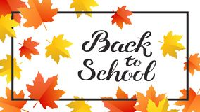 Hand drawn autumn Back to School typography poster with cute colorful leaves in flat style stock images