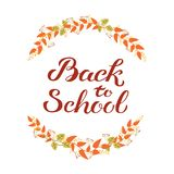 Hand drawn autumn Back to School typography poster with cute colorful leaves in flat style stock photos