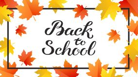 Hand drawn autumn Back to School typography poster with cute colorful leaves in flat style royalty free stock photos