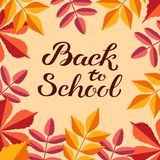 Hand drawn autumn Back to School typography poster with cute colorful leaves in flat style royalty free illustration