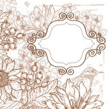 Hand drawn autumn berries and flowers retro background Stock Photos