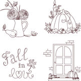 Hand drawn autumn clip-art set Royalty Free Stock Photo