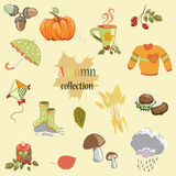 Hand drawn autumn collection with pumpkin, umbrella, mushrooms, kite, sweater, rose hip twig,. Vector illustration collection of Autumn symbols on light yellow vector illustration