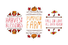 Hand drawn autumn elements with inscription Royalty Free Stock Images
