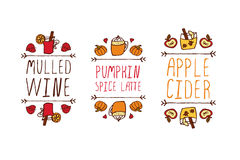 Hand drawn autumn elements with inscription Royalty Free Stock Photography