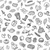 Hand drawn autumn fall thanksgiving doodle black adn white seamless pattern vector illustration