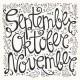 Hand drawn autumn inscription months Stock Images