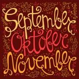 Hand drawn autumn inscription months Stock Image