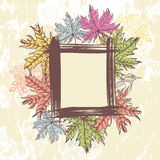 Hand drawn autumn leaves, berries  and  forest bird frame Royalty Free Stock Image