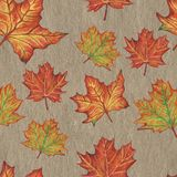 Hand-drawn autumn leaves seamless pattern drawing with oil pastel stock illustration