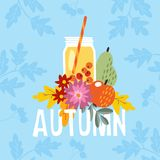 Hand drawn autumn party greeting card, invitation with cocktail drink in a glass jar. Apple, pear fruit and berries and. Mums flowers and colorful leaves, fall Stock Photo