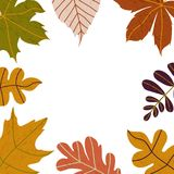 Hand drawn Autumn seasons holiday doodles with colorful leaves in form of circle isolated on white. Vector illustration. For banners, greeting cards, posters royalty free illustration